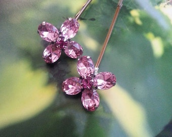 Crystal Hair Pin, Pink Flower Bobby Pin, Flower Girl Gift, Ready to Ship