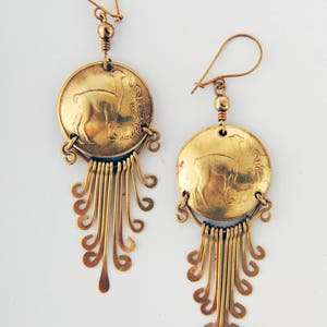 Peru coin earrings brass vintage dangly boho gypsy llama design recycled genuine coins fairtrade Tumi South American