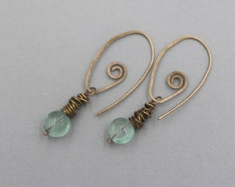 Mint Green Fluorite Dangle Earrings on Hand Forged Bronze Spiral Hoops, Green Gemstone Hoop Earrings, Convertible Hoops, Gold Color Hoops