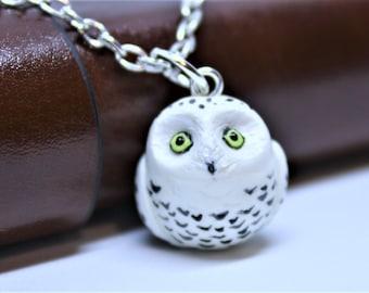 Owl Necklace Owl Charm Owl Pendant Owl Figurine Owl Charm Necklace Owl Keychain Owl Jewelry Polymer Clay Owl Snowy Owl Necklace