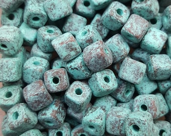 Greek Mykonos Rustic Green Patina Cube Beads 7mm Ceramic Cube Bead - 20 beads