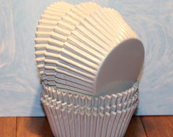 NEW - White Foil Cupcake Liners (Qty 50) White Foil Baking Cups, White Cupcake Liners, White Baking Cups, White Muffin Cups, Cupcake Liners