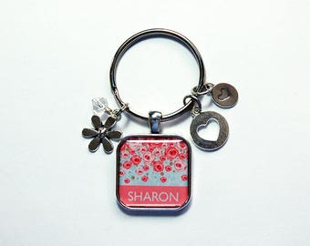 Floral Keychain, Personalized Keychain, Keyring with name, Keychain for women, Stocking stuffer, Gift for her, keychain with name (8500)