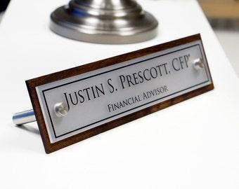 Custom Office Desk Organization Name Plate Minimalist Space Saver 2.5 x 10 inches