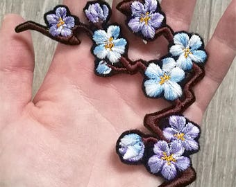 Cherry Blossom branch BLUE version ~ Embroidered Iron-on patch