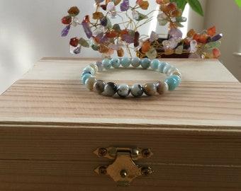 "Handmade Genuine Amazonite Bracelet, Natural Multicolor Amazonite Gemstone Stretch 7.25"" Bracelet,Calming,Improve Health, Protection,Energy"
