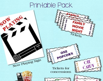 Movie Night, Movie Night Ideas, Movie Night Printable Pack, Family Movie Nights