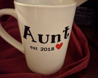 Aunt Coffee Cup, Birth Announcement, Baby Announcement, Aunt Gift, Sister Gift