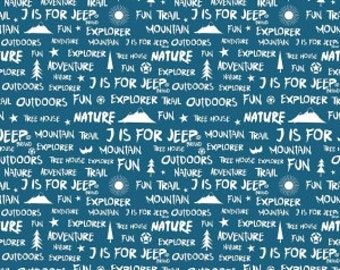 J is For Jeep Brand Words on Blue from Riley Blake Design's J is For Jeep Collection