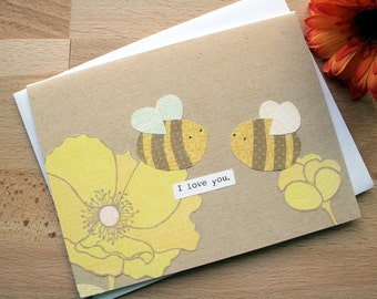 CARD: Lovey Dovey Bees, I Love You, Blank Card