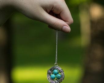 Wire Wrapped Bird Nest Necklace