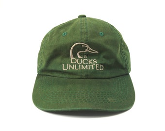 Ducks Unlimited Sap Green Strapback Dad Hat || Embroidered Profile Duck Baseball Cap