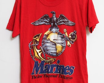 VTG 70s Novelty Marines Red T-Shirt S/M