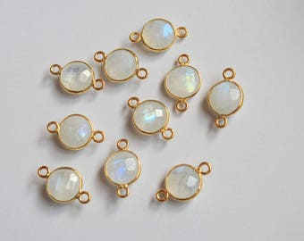 Natural Rainbow Moonstone 10Pcs 8mm Round 92.5 Sterling Silver Gold Pleating Briolette Cut Double Bail and Loop Bezel Set Link Connector