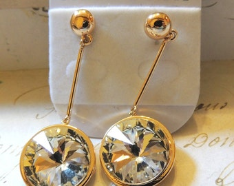 Stunning Crystal Earrings High End Dangle Pierced Vintage Jewelry