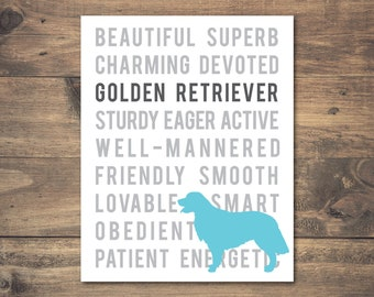 Printable Typographic Golden Retriever Art, Golden Retriever Silhouette Print, Blue & White Wall Decor, Typographic Dog Print, 8x10