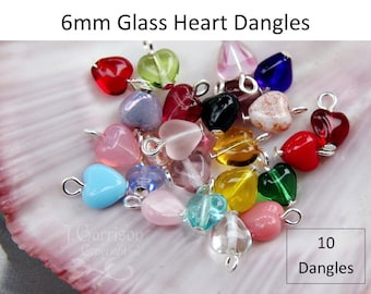 10 (Ten) 6mm glass heart dangles - birthstone colors & more - with silver, gold, gunmetal, antiqued brass, copper, or antiqued silver loops