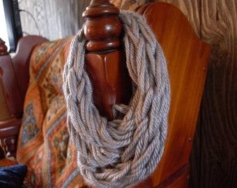 Infinity arm knit chunky scarf