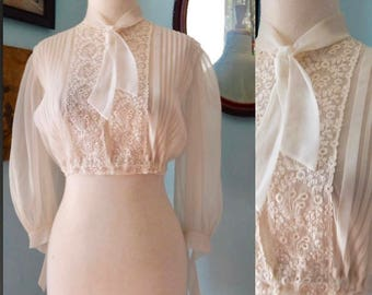 VTG 70's sheer crop festival blouse bows embroidery boho hippie shirt Victorian bohiemian  cream