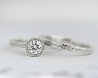 Half Carat Diamond Art Deco Engagement Ring   .50 carat Canadian Diamond Solitaire   Octagon Prong Setting   14k 18k White Gold