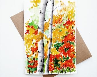 Original Birch Trees Painting card/ Fall landscape / Autumn Decor