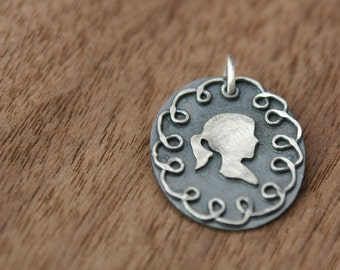 Doodle Silhouette Charm, custom made