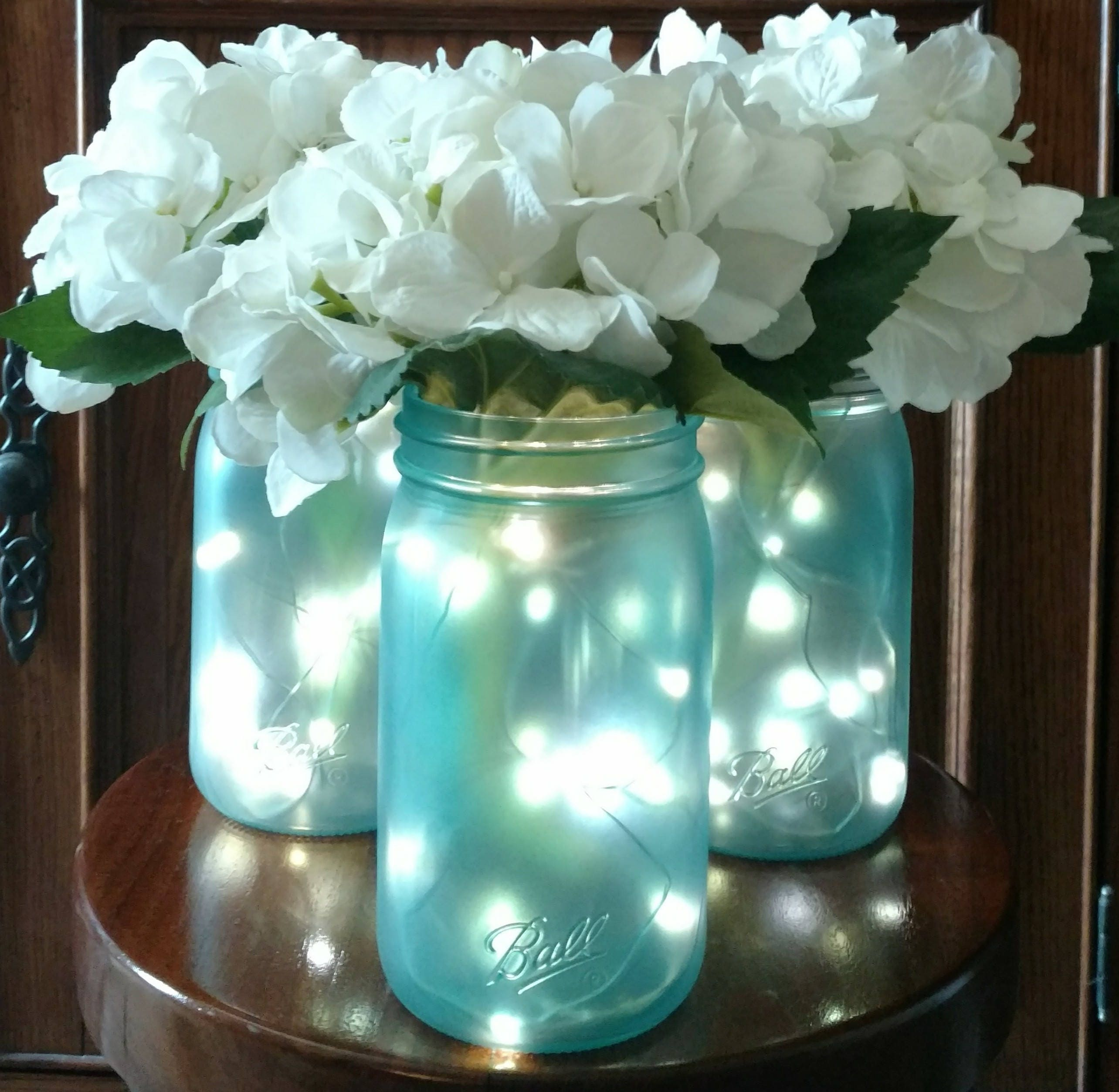 Sea glass mason jar centerpieces