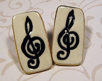 Music Clef Porcelain Earrings