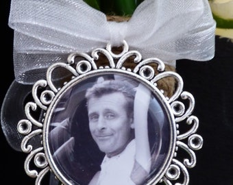 Fancy ROUND, Ribbon BOW - Bridal Bouquet Photo Charm with your own personalised photo, Memorial Charm, 25mm Photo