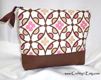Mod Circles and Flowers - Ladies Zip Pouch (MEDIUM)