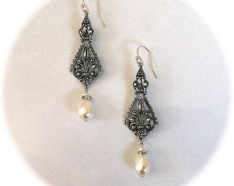 Victorian Gothic Earrings, Swarovski Pearl Earrings, Gothic Jewelry, Victorian Jewelry, Bridesmaid Earrings Bridal Jewelry SET