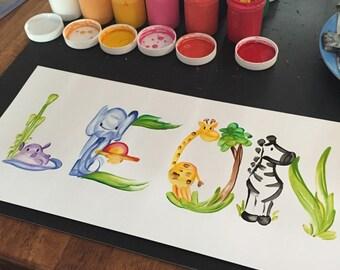 Jungle Animals Name Painting - Custom/Made to Order Tiger, Hippo, Lion, Giraffe, Flamingo, Rhino, Zebra, Jungle, Monkey