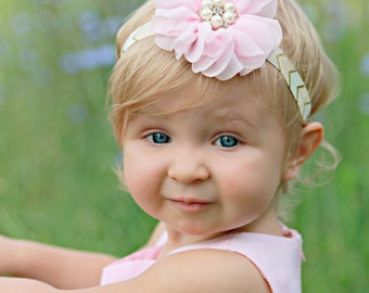 Pink Gold Headband, Pink Baby Headband, Pastel Pink Headband, Newborn Photo Prop, Baby Shower Gift, Adult Headband, Flower Girl, Birthday