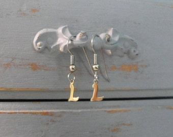Tiny Letter Earrings Monogram Dangle Earrings Small Initial Tiny Initial Earrings Gold Letter Earrings Monogram Earrings Letter L Earring