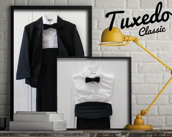 Boys 5-Piece Black or Navy Tuxedo (Jacket, Shirt, Bow-Tie, Cummerbund Sash, Pants)