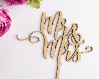 Mr & Mrs Cake Topper, Wedding Cake Topper, Mr and Mrs Wood Cake Topper, Calligraphy Cake Topper, Rose Gold Cake Topper, Gold Wedding Topper