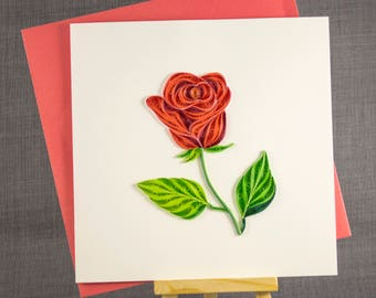 3D Handmade Card  Quilling Card Quilled Rose Love Card Paper Quilling