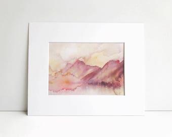 Abstract Grand Teton Watercolor Print, Watercolor, National Park, Abstract, Grand Teton
