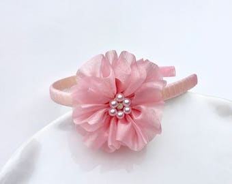 Pink Full Ruffle Flower Headband