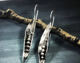 Organic Botanical Sterling Silver Earrings; Handforged Artisan Drop Earrings
