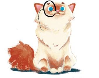 cat illustration print with monocole, ragdoll cat