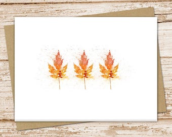 autumn leaves blank cards . greeting cards . note cards, notecards . watercolor . folded stationery stationary . set of 6
