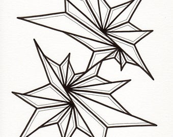 """Original freehand drawing - black and white - 8 x 10 - modern home decor - minimalist abstract contemporary art - """"Remnants of War"""""""