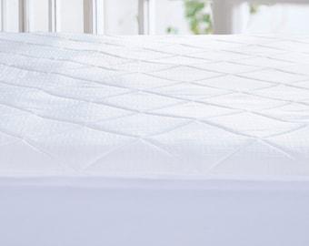 Memory Foam Mattress Pad Topper, Diamond Quilting, White