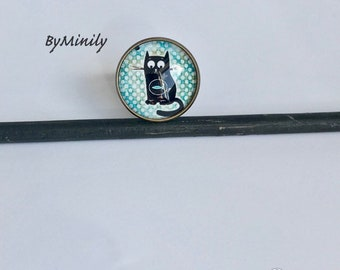 Cabochon ring round fancy - cat - illustrated - turquoise - pea - picture