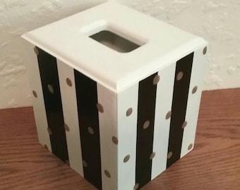 Black and White Tissue Box Cover - Striped Tissue Holder - Striped box - Polka Dot Tissue Holder - Gold Dots - Wooden Tissue Box
