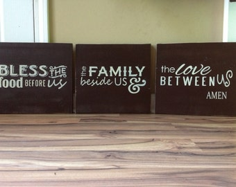 Large Bless the food before us the family beside us and the love between us amen wood signs hand painted signs wall decor home dark brown