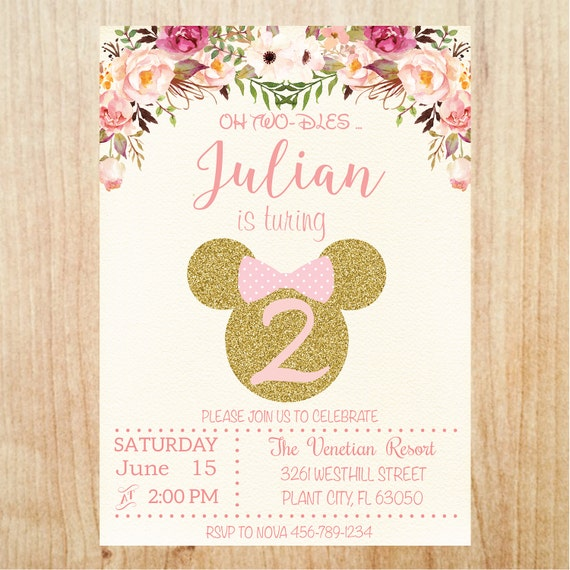 Unique Minnie Mouse Pink Gold Glitter Birthday Party Invitation PF36