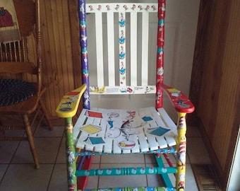 Dr Seuss Cat in the Hat Adult Kindergarten reading Rocking Chair decoupage