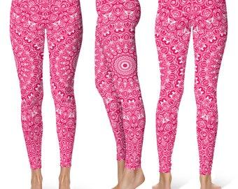 Pink Leggings Yoga Pants, Printed Yoga Tights for Women, Pink and White Mandala Pattern